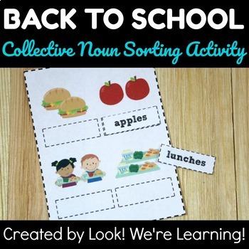 Back to School Noun Sorting Activity