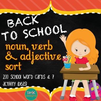 Back to School Noun, Verb & Adjective Sort