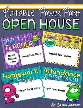 Back to School Open House Meet the Teacher Monster Theme P