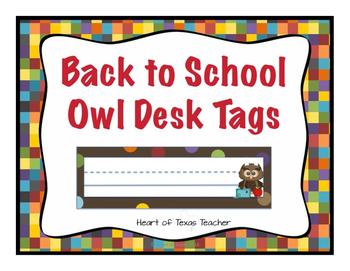 Back to School Owl Desk Name Plates