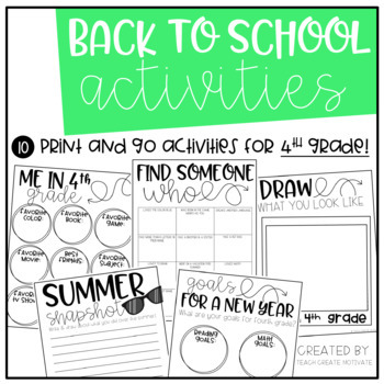 Back to School Pack {4th Grade}