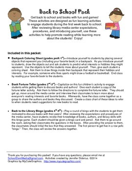 Back to School Pack: Library Activities