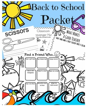 Back to School Packet (Beach & Summer Themed) (Car & Bus Rider)