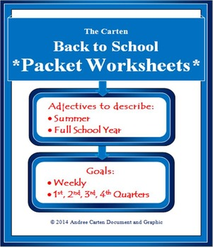 Back to School Packet Worksheets