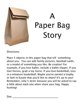 Back to School Paper Bag Story Activity