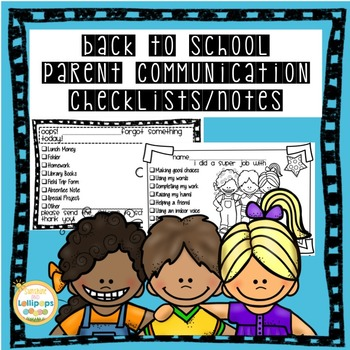 Back to School Parent Communication Checklists & Notes wit