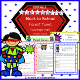 Back to School Parent Forms (Editable) Superhero theme