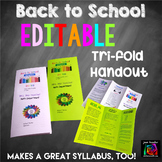 Back to School Editable Meet the Teacher or Parent Night H