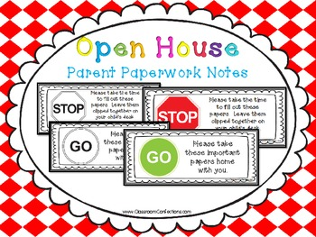 Back to School Parent Paperwork Notes
