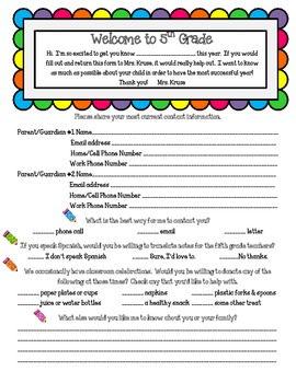 Back to School Parent Survey for Grades 3-6
