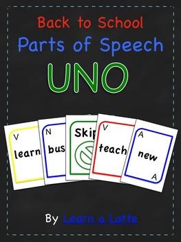 Back to School Parts of Speech UNO