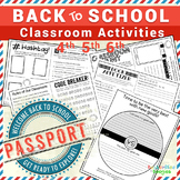 Back to School Passport: Classroom Activities Book - EDITABLE PDF