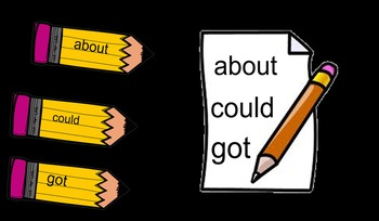 Back to School Pencil Sight Words