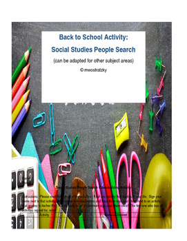 Back to School People Search Activity (Get to Know Your Students)