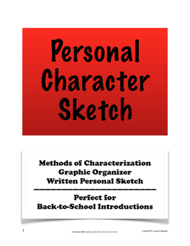Back-to-School Personal Character Sketch Introduction; Cha