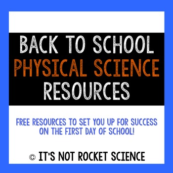 Back to School Physical Science Resources
