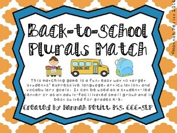 Back-to-School Plurals Match (SPAN/ENG BILINGUAL) *Aligned