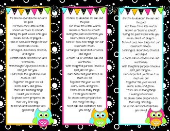 Back to School Poem/Tag/Bookmark--Black & White & Bright O