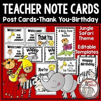 Back to School Post Cards and Note Cards Wild Jungle Theme