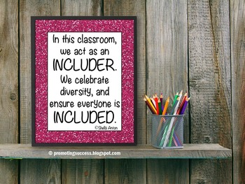 Inclusion Quote Poster for Pink Glitter Classroom or Schoo