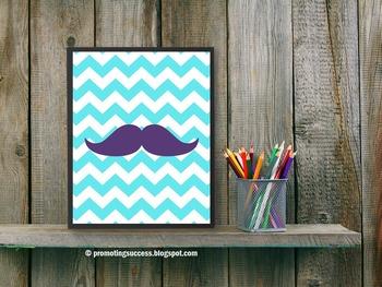 Chevron Classroom Decor Mustache Art Poster Turquoise Purp