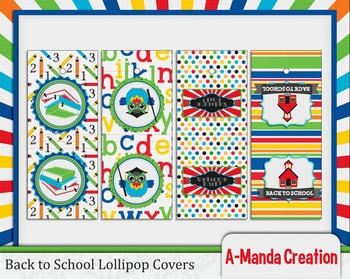 Back to School Printable Lollipop Covers