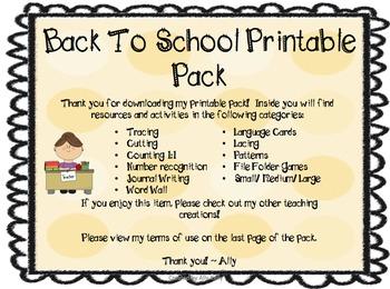 Back to School Printable Pack