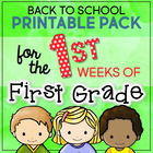 Back to School Printable Pack for the First Weeks of First Grade