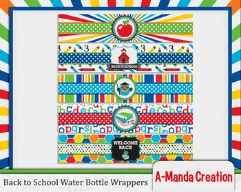 Back to School Printable Water Bottle Wrappers