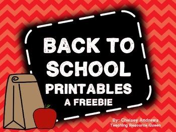Back to School Printables Freebie