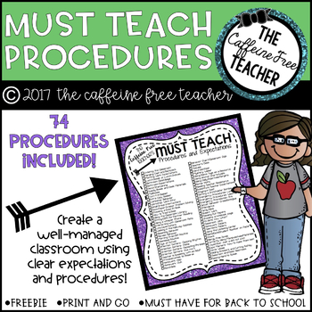 Classroom Procedures and Expectations Checklist for Back t