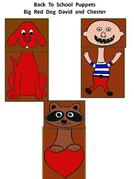 Back to School Puppets with a boy, racoon and dog