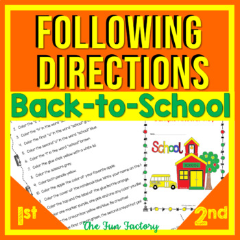 Back to School Read and Follow Directions for August and S