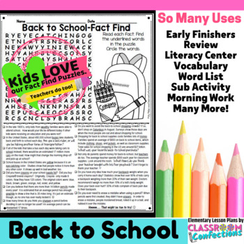 Back to School Reading Activity: Fact Find Word Search (no