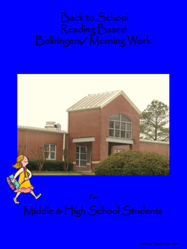 Back to School Reading Based Bellringers for Middle and Hi