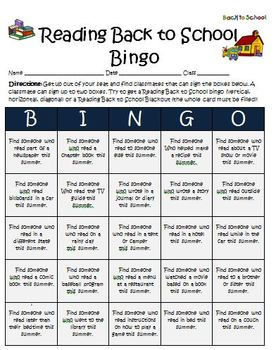 Back to School Reading Bingo Activity