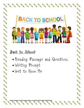 Back to School Reading Passage & Questions, Writing Prompt