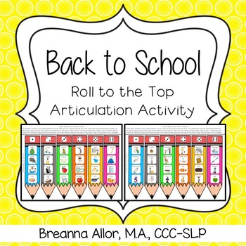Back to School Roll to the Top Articulation Activity