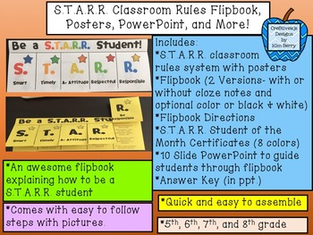 Back to School:  S.T.A.R.R. Class Rules Flipbook, Posters,