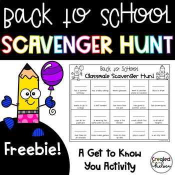 Back to School Scavenger Hunt- A Get to Know You Activity