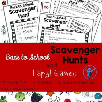 Back to School Scavenger Hunt and I Spy! Games
