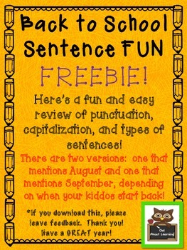 Back to School Sentence (punctuation, capitalization, & se
