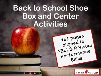 ABLLS-R ALIGNED ACTIVITIES Back to School Shoe Box and Cen