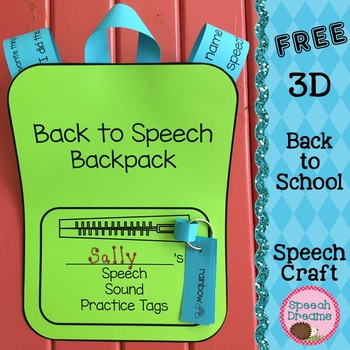Back to School Speech Therapy 3D Backpack Craft FREE by Speech Dreams