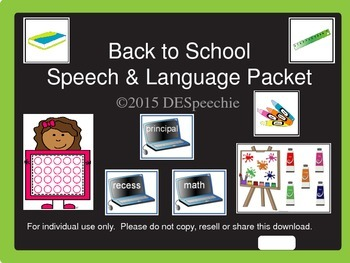 Back to School Speech and Language Packet