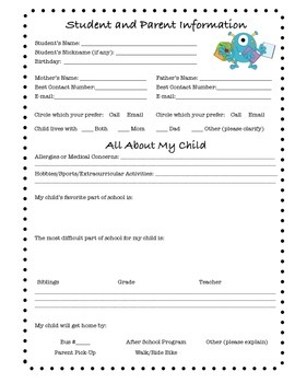 Back to School, Student & Parent Information