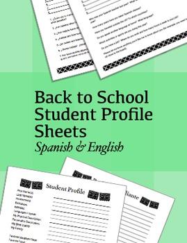 Back to School Student Profile Sheets ~ Spanish & English
