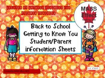 Back to School, Student/Parent Information Sheet