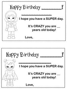 Back to School - Superhero Birthday Certificates