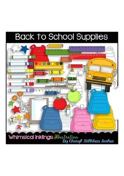 Back to School Supplies Clipart Collection